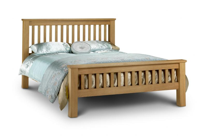 Julian Bowen Amsterdam Oak Wooden High Foot End Bed Frame from £369